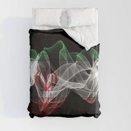 Iran Smoke Flag on Black Background, Iran flag Duvet Cover