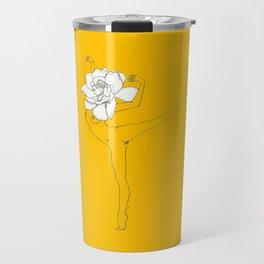 Gardenia Girl · Flower Woman drawing, white, honey gold yellow background, simple line Travel Mug