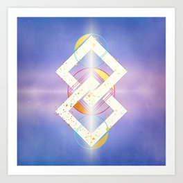 Linked Lilac Diamonds :: Floating Geometry Art Print