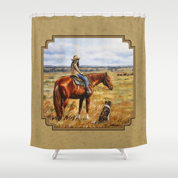 Young Cowgirl On Cattle Horse Shower Curtain By Csforest