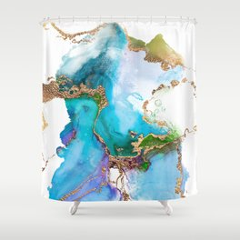 Abstract Marble Mermaid Gemstone With Gold Glitter Shower Curtain