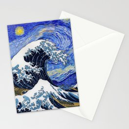 "Hokusai,""The Great Wave off Kanagawa"" + van Gogh,""Starry night"" Stationery Cards"