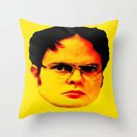 "dwight Throw Pillows featuring Dwight Schrute ""FACT"" by Silvio Ledbetter"