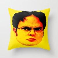 "dwight schrute Throw Pillows featuring Dwight Schrute ""FACT"" by Silvio Ledbetter"