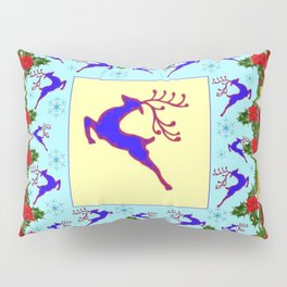 PINK ART LEAPING DEER POINSETTIAS & SNOWFLAKES CHRISTMAS Pillow Sham