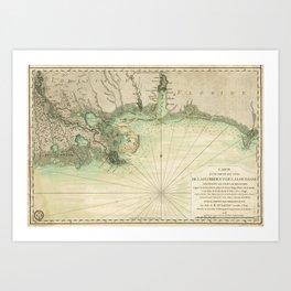 Map of Louisiana and Florida Gulf Coast (1778) Art Print
