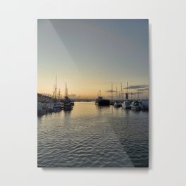 Sunset over Brixham harbor Metal Print