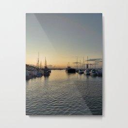 Sunset over Brixham harbor Metal Print