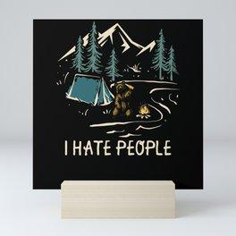 I Hate People | Bear Camping Gift Idea Mini Art Print