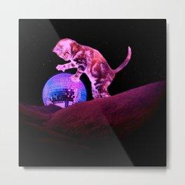 Disco Kitten - Digital Collage Metal Print