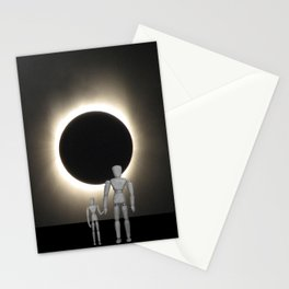 Wooden Anatomy Father Doll and Child before Total Solar Eclipse Stationery Cards