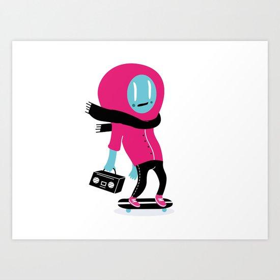 Alien on skateboard Art Print