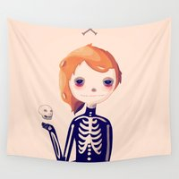 nan lawson Wall Tapestries featuring Bones by Nan Lawson