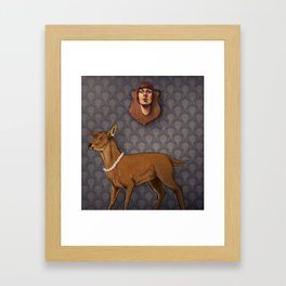 Deer and the Human Mount Framed Art Print