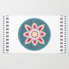 Suzani inspired floral blue 2 Rug