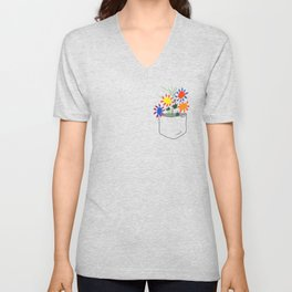 Pablo Picasso Bouquet Of Peace 1958 in a Pocket (Flowers Bouquet With Hands), T Shirt, Artwork Unisex V-Neck