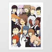 dangan ronpa Art Prints featuring Dangan Ronpa by timehwimeh