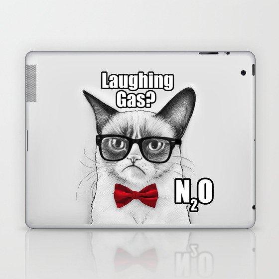 Grumpy Chemistry Cat Geek Science Meme Whimsical Animals in Glasses Laptop & iPad Skin