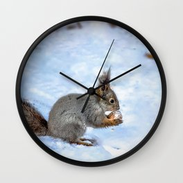 Walnut with snow Wall Clock