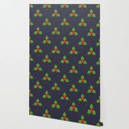 Red Christmas Mistletoe Pattern Wallpaper