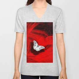 Silver butterfly emerging from the red depths Unisex V-Neck