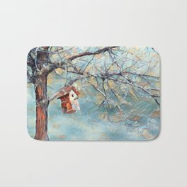 A Chickadees Home Bath Mat