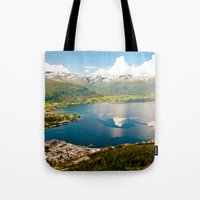 norway Tote Bags featuring Sandane, Norway by MankiniPhotography
