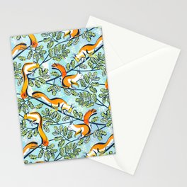 Oak Tree with Squirrels in Summer Stationery Cards