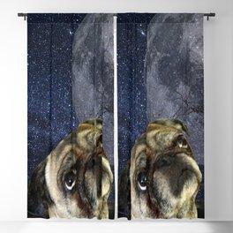 Pug and Moon Blackout Curtain