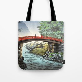 Tsuchiya Koitsu - Nikko, Sacred Bridge - Japanese Vintage Woodblock Painting Tote Bag