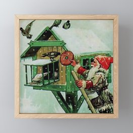"""Feeding Winter Birds"" Elves by Jenny Nystrom Framed Mini Art Print"