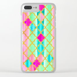 Moroccan Tile Pattern In Neon Pink And Green Clear iPhone Case