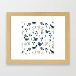 Modern Birds Pattern Framed Art Print