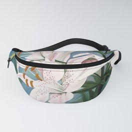 Watercolor Botanical Garden Flower White Lilies Fanny Pack