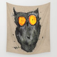 scary Wall Tapestries featuring Scary owl by Bwiselizzy