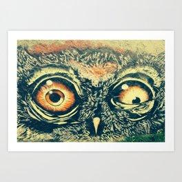 Buho owl animal graffiti drawing Art Print