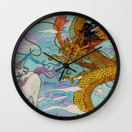 Dragon fighting Unicorn Wall Clock