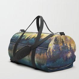 Mountain Lake Under Sunrise Duffle Bag