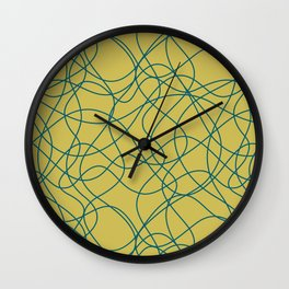 Tropical Dark Teal Scribbled Lines Abstract Hand Drawn Mosaic Pattern Inspired by Sherwin Williams 2020 Trending Color Oceanside SW6496 on Dark Yellow Wall Clock