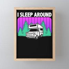 I Sleep Around Camping Hiking Outdoor Framed Mini Art Print