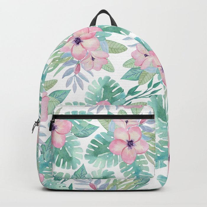 Blush pink green modern watercolor tropical floral Backpack