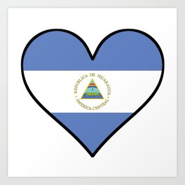 Nicaraguan Flag Heart Art Print
