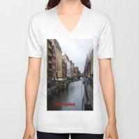 copenhagen V-neck T-shirts featuring Nyhavn, Copenhagen  by Created by Eleni