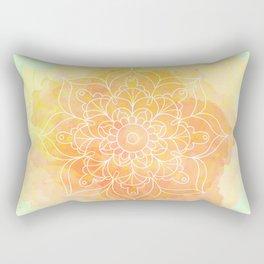 Watercolor Mandala // Sunny Floral Mandala Rectangular Pillow