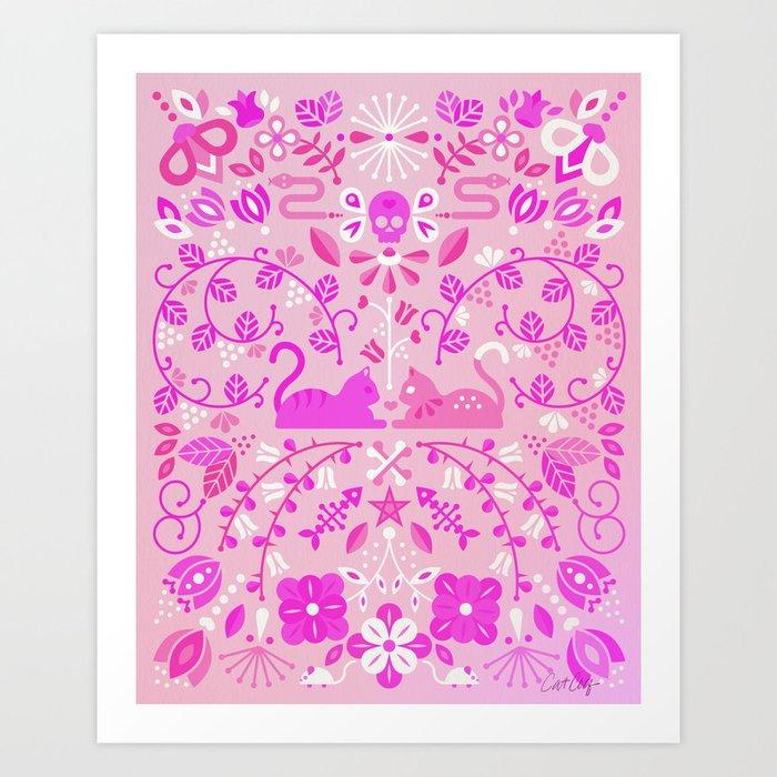 Kitten Lovers – Pink Ombré Art Print