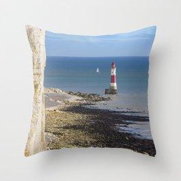 Beachy Head Lighthouse Throw Pillow