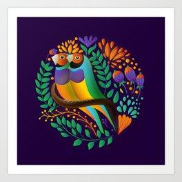 Gouldian Finches by SCD Balaji Art Print