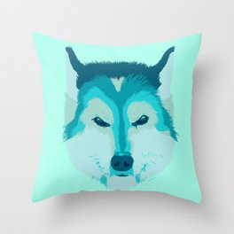husky - teal Throw Pillow