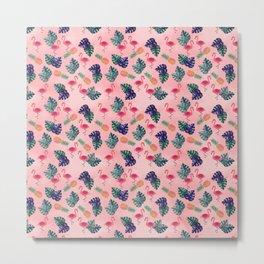 Tropical, Flamingo, Pineapple, Summer Fling Metal Print