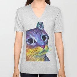 Rainbow Color Cat Unisex V-Neck
